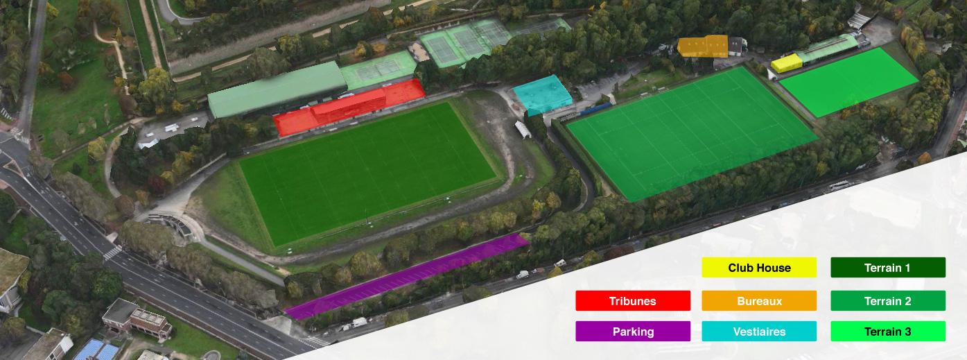 Plan des infrastructures du stade Jean Moulin