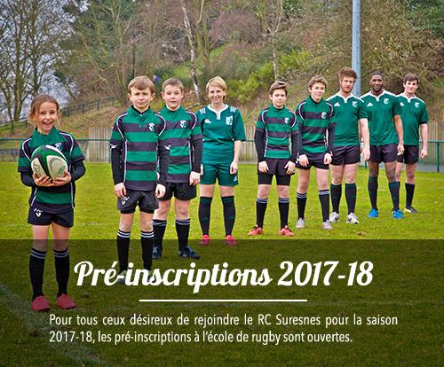 Pour tous ceux désireux de rejoindre le RC Suresnes pour la saison 2017-2018, les pré-inscriptions à l'école de rugby sont ouvertes.