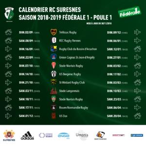 Calendrier Rugby Club Suresnes - Fédérale 1 - Poule 1 - Saison 2018-2019