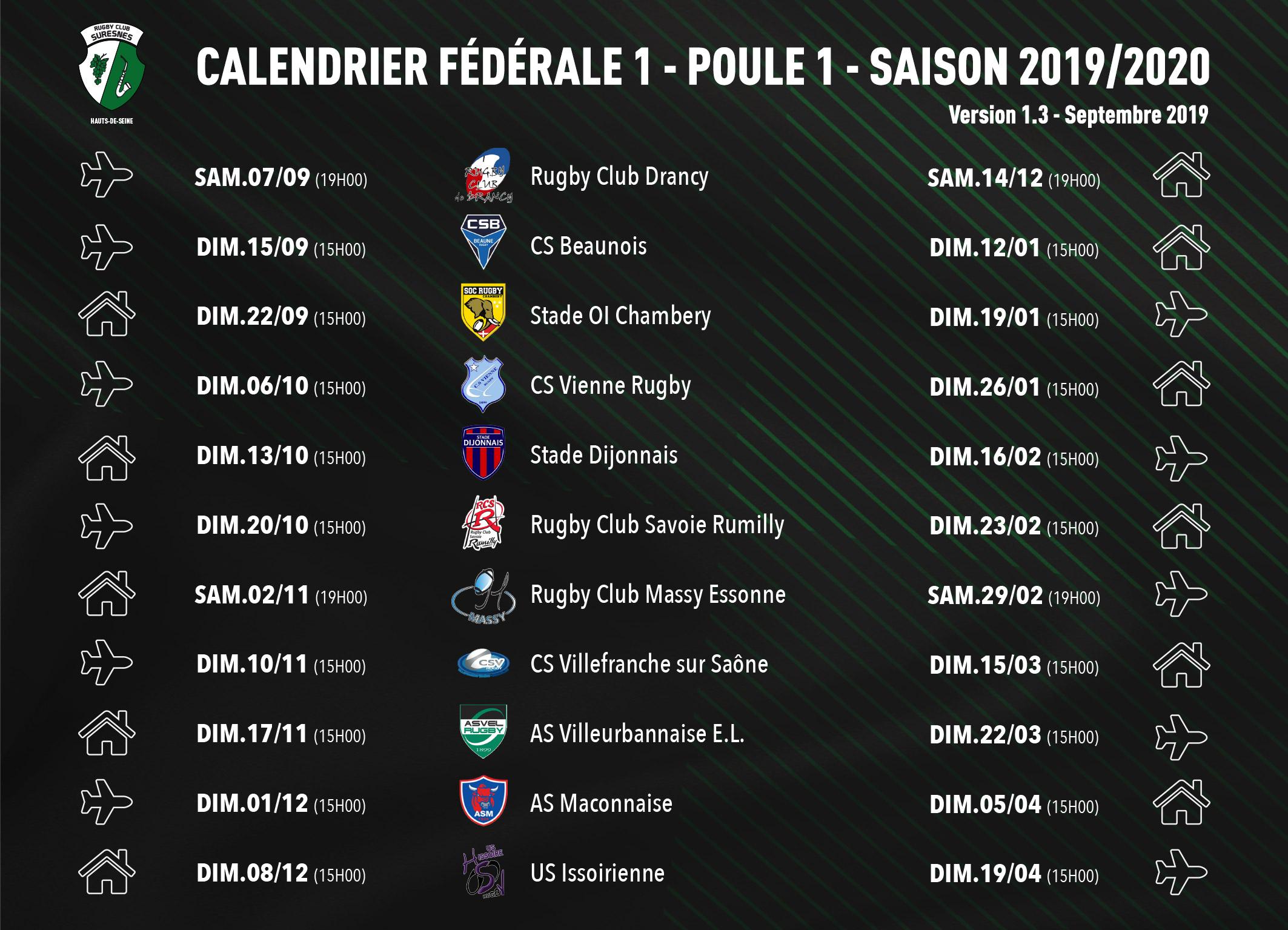 Calendrier Rugby Club Suresnes - Fédérale 1 - Poule 1 - Saison 2019-2020
